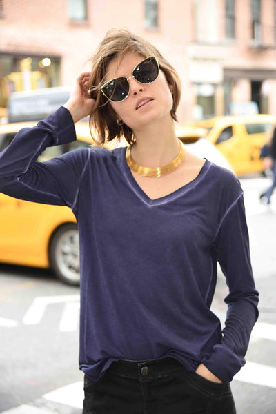 V-Neck Tee (Dyed Version) Tops The Eight Senses® Purple XS
