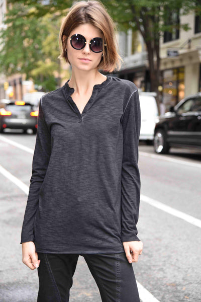 Henley Tops The Eight Senses® Black S
