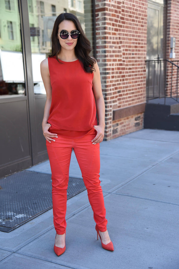 Urban Sense Jean Pants The Eight Senses® Red XS