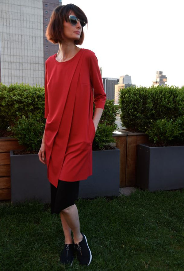 Asymmetrical Tunic Tops The Eight Senses® Red XS