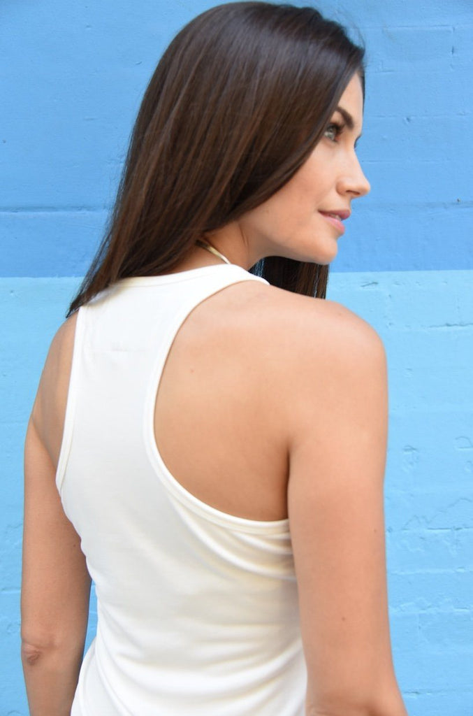 White Racer-Back Tank, Light-Weight Jersey Fabric