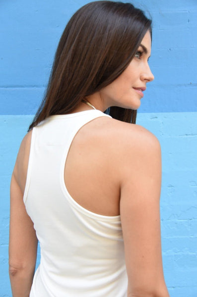 White Racer-Back Tank, Light-Weight Jersey Fabric Tops The Eight Senses®