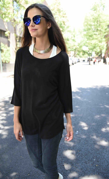 Basic Shirt Elbow Dolman Top by The Eight Senses