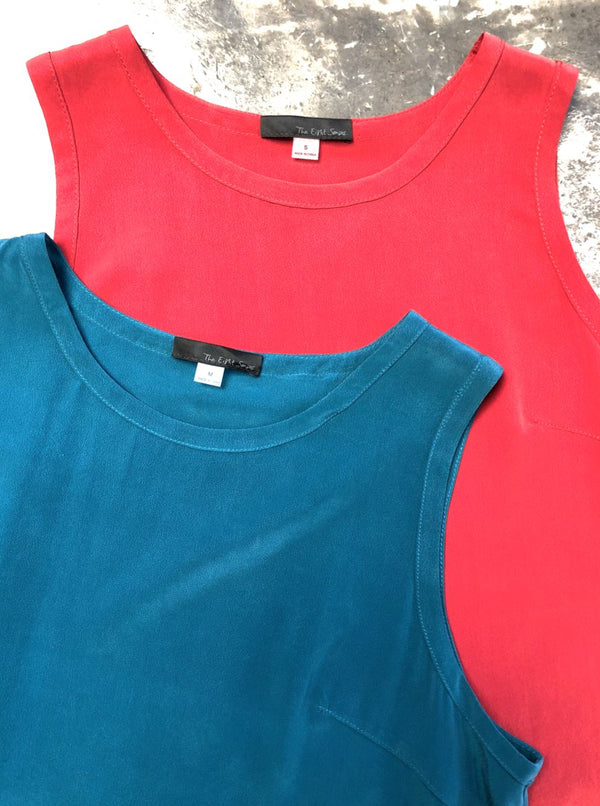 Combo Sleeveless Silk Tops The Eight Senses® Dark Teal XS