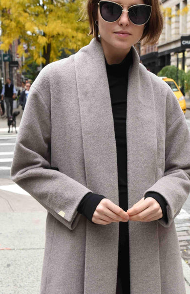 Open Front Overcoat, Wool Coat by The Eight Senses