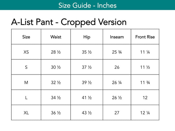 A-List Pant - Cropped Version Pants The Eight Senses®