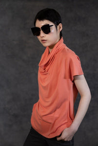 Drapey Short Sleeve Tee Tops The Eight Senses® Coral XS