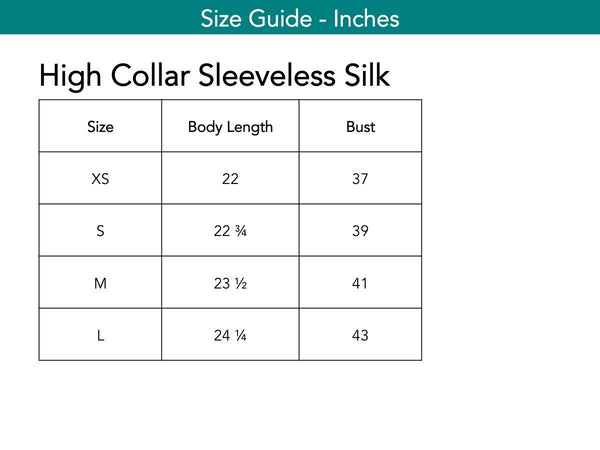 High Collar Sleeveless Silk Tops The Eight Senses®