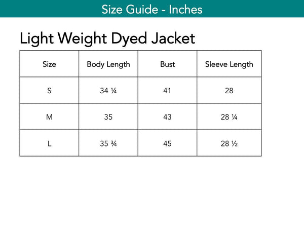 Light Weight Dyed Jacket Jackets The Eight Senses®