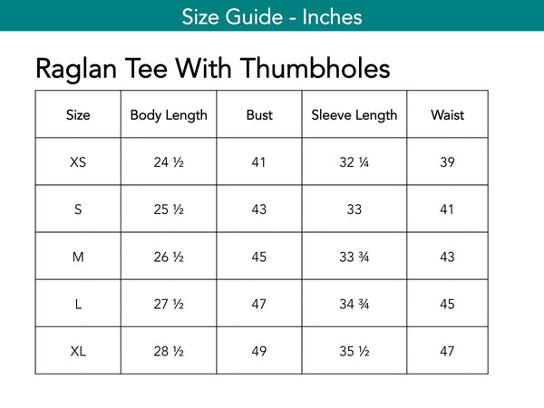 Raglan Tee With Thumbholes Tops The Eight Senses®
