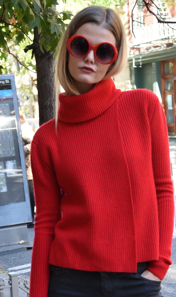 Asymmetrical Sweater Red