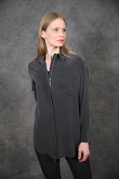 Silk Top With Zipper Tops The Eight Senses®