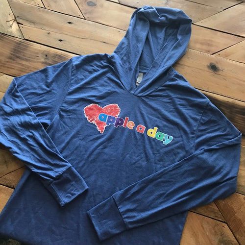 Apple A Day Blue Logo Lightweight Hoodie