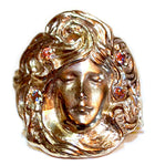 "Ladies ""Face With Hair"" Art Noveau style ring"