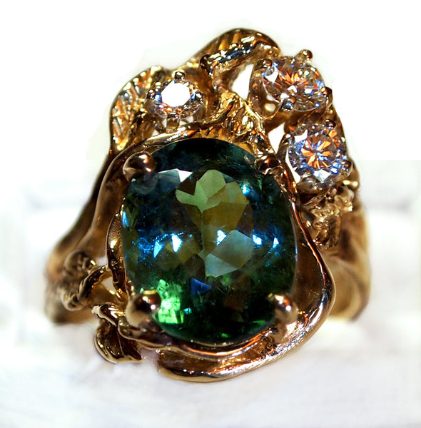 """Green Water In Woods"" green Tourmaline ring"