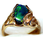 Green Opal Leaf and Tendril Ring