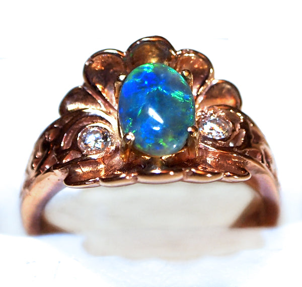 Rose Gold Shell Ring with Solid Black Opal