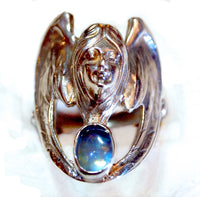 """Blue Angel"" Art Noveau style ring"