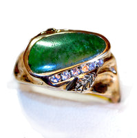 Jade and diamond Man's Ring
