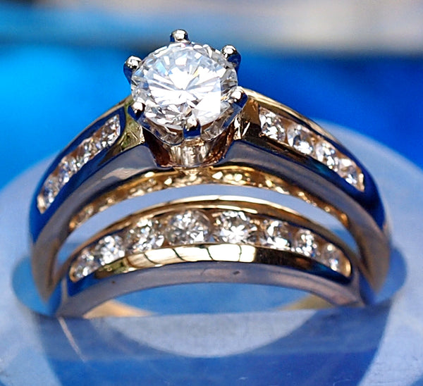 """Classic"" Plain channel set engagement ring with wedding band"