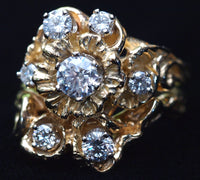 """Large Flower"" two piece floral wedding set or fitted rings"