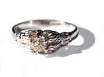 14k Antique white gold Engagement ring