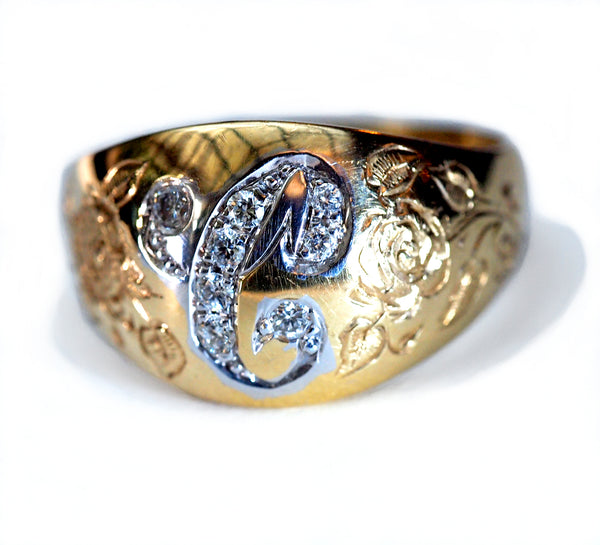 Hand Engraved Initial Ring