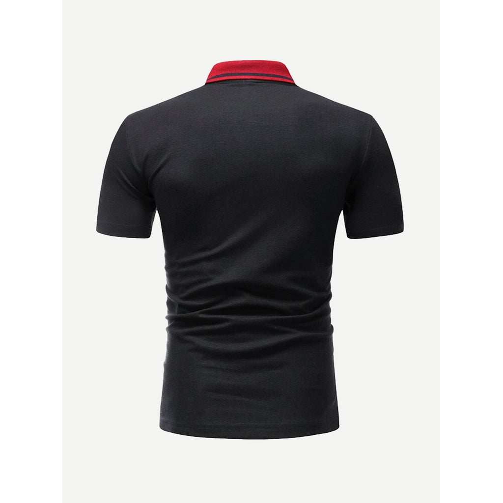 Black Varsity Striped Polo Shirt