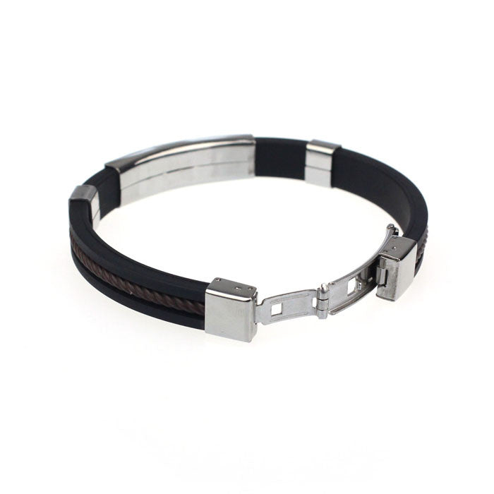 Leather Stainless Steel Bracelet - Debonair Gent Menswear