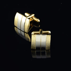 Gold & Silver Matte Cufflinks w/Tie Bar