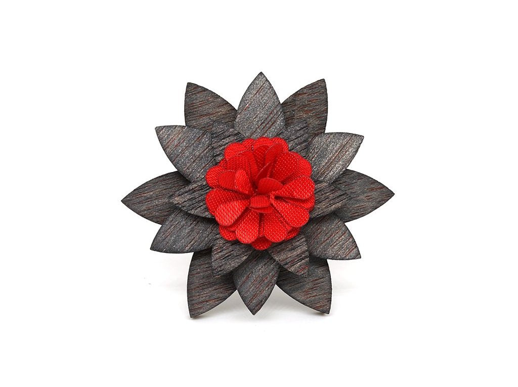 Burst Wooden Lapel Flower