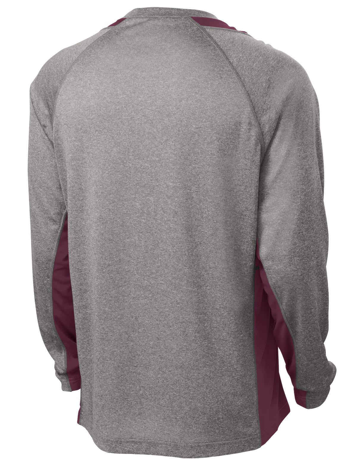 Mafoose Men's Long Sleeve Heather Colorblock Contender Tee Shirt Vintage Heather/ Maroon-Back