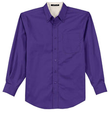 Mafoose Men's Tall Long Sleeve Easy Care Shirt Purple-Front