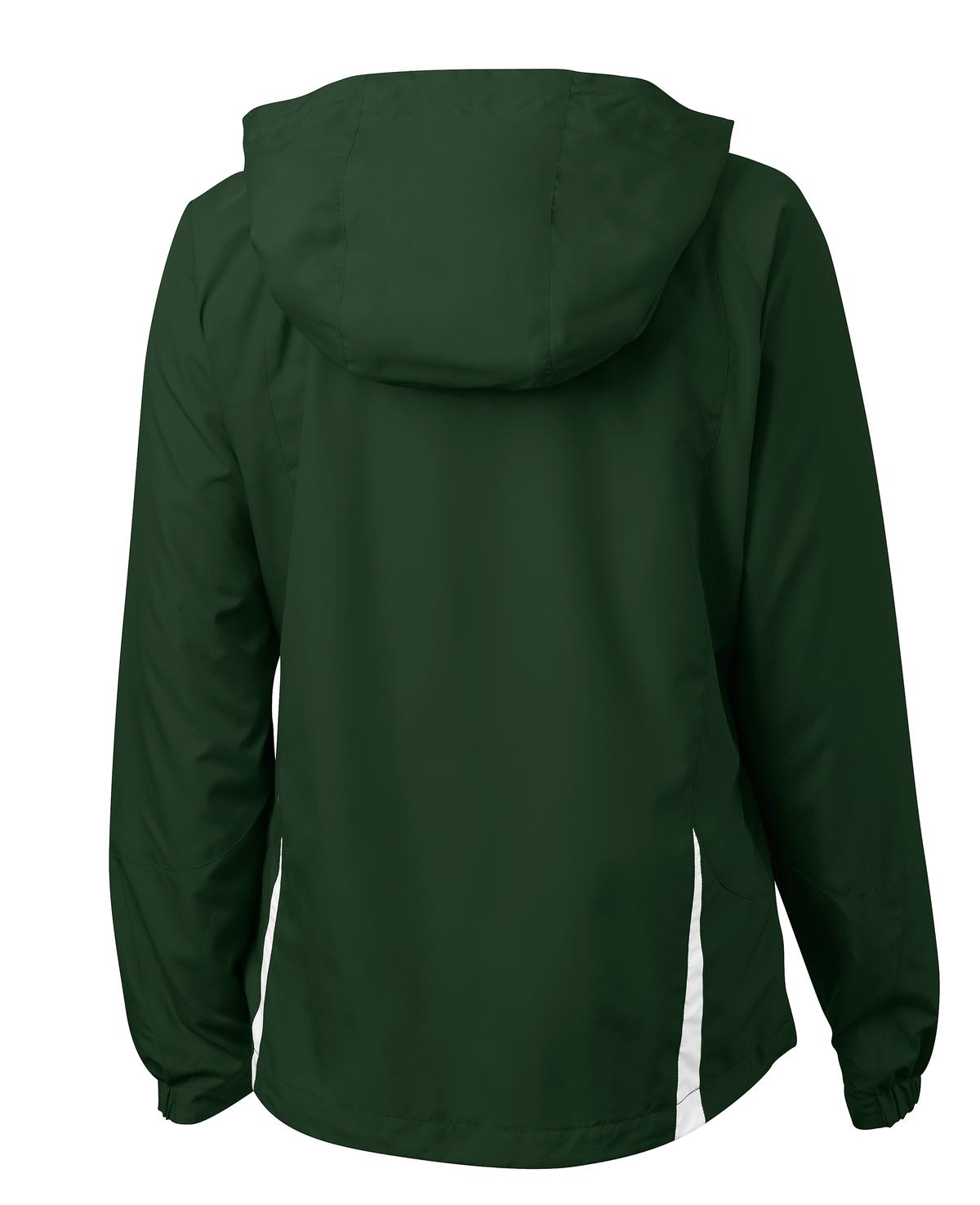 Mafoose Women's Colorblock Hooded Raglan Jacket Forest Green/White-Back