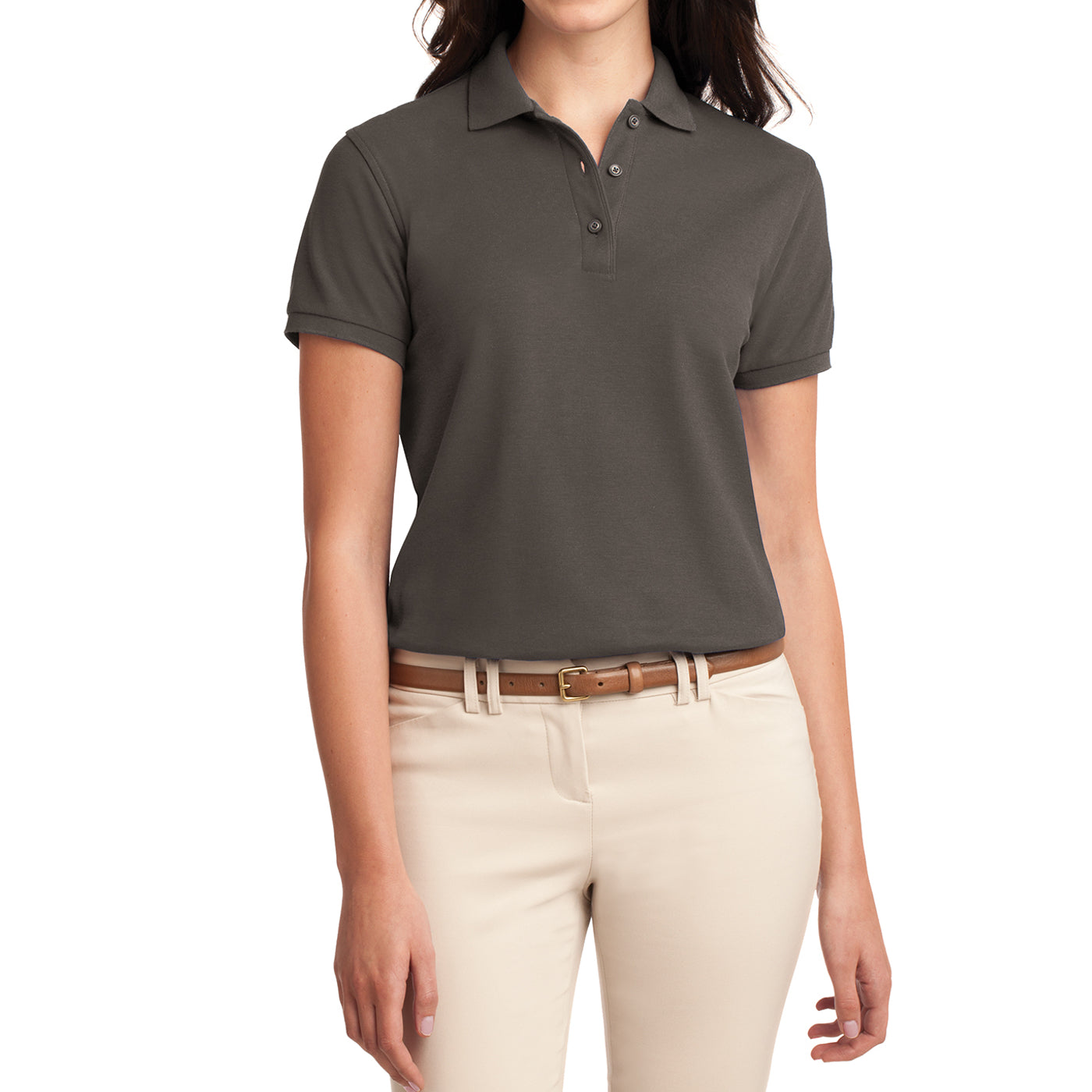 Womens Silk Touch Classic Polo Shirt - Bark - Front