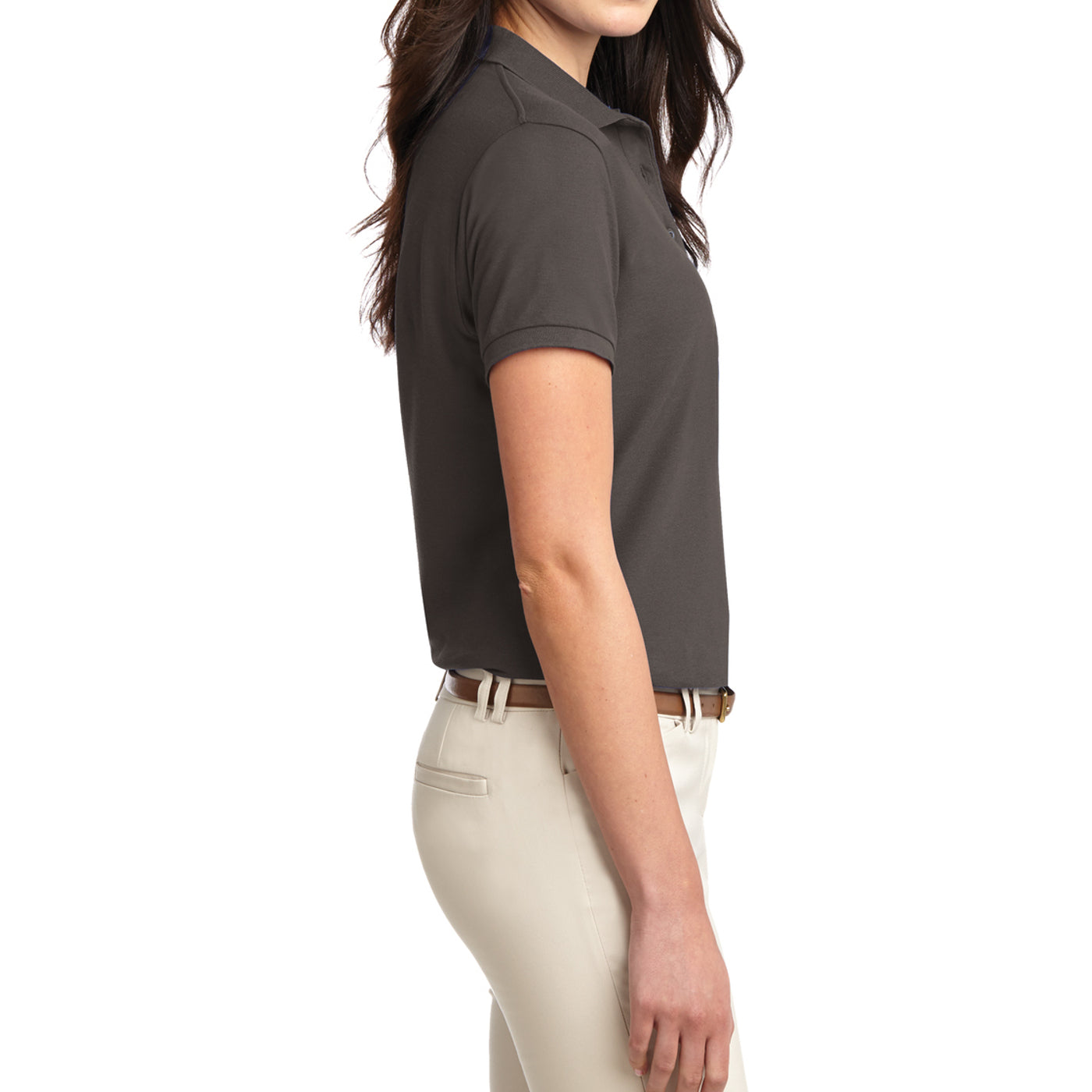 Womens Silk Touch Classic Polo Shirt - Bark - Side