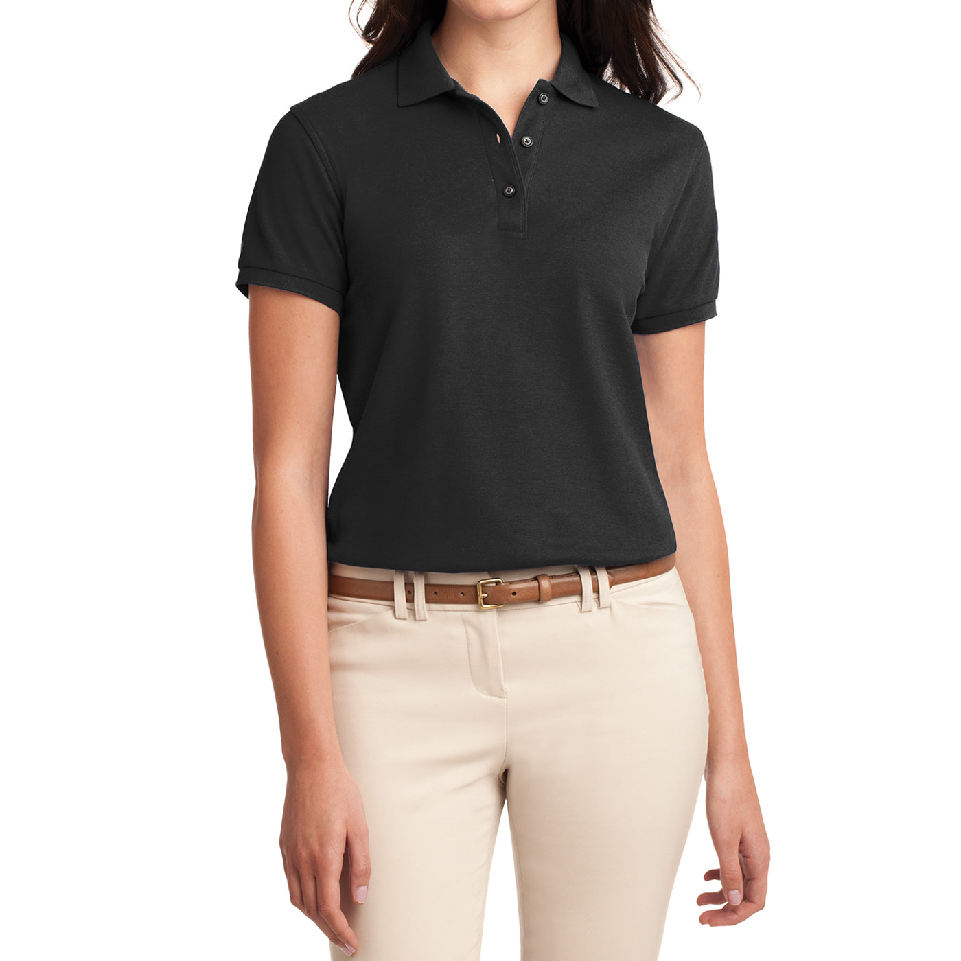 Womens Silk Touch Classic Polo Shirt - Black - Front