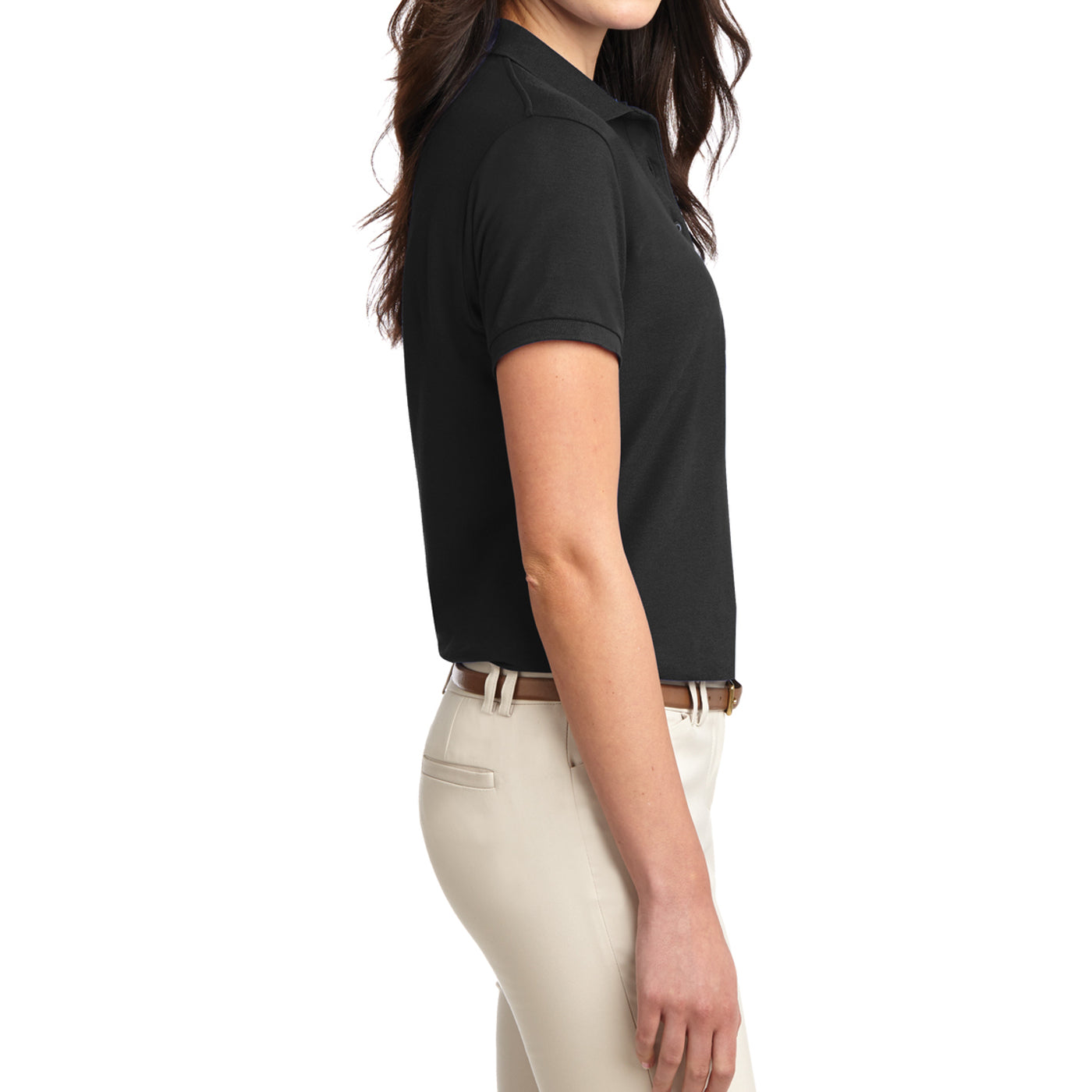 Womens Silk Touch Classic Polo Shirt - Black - Side