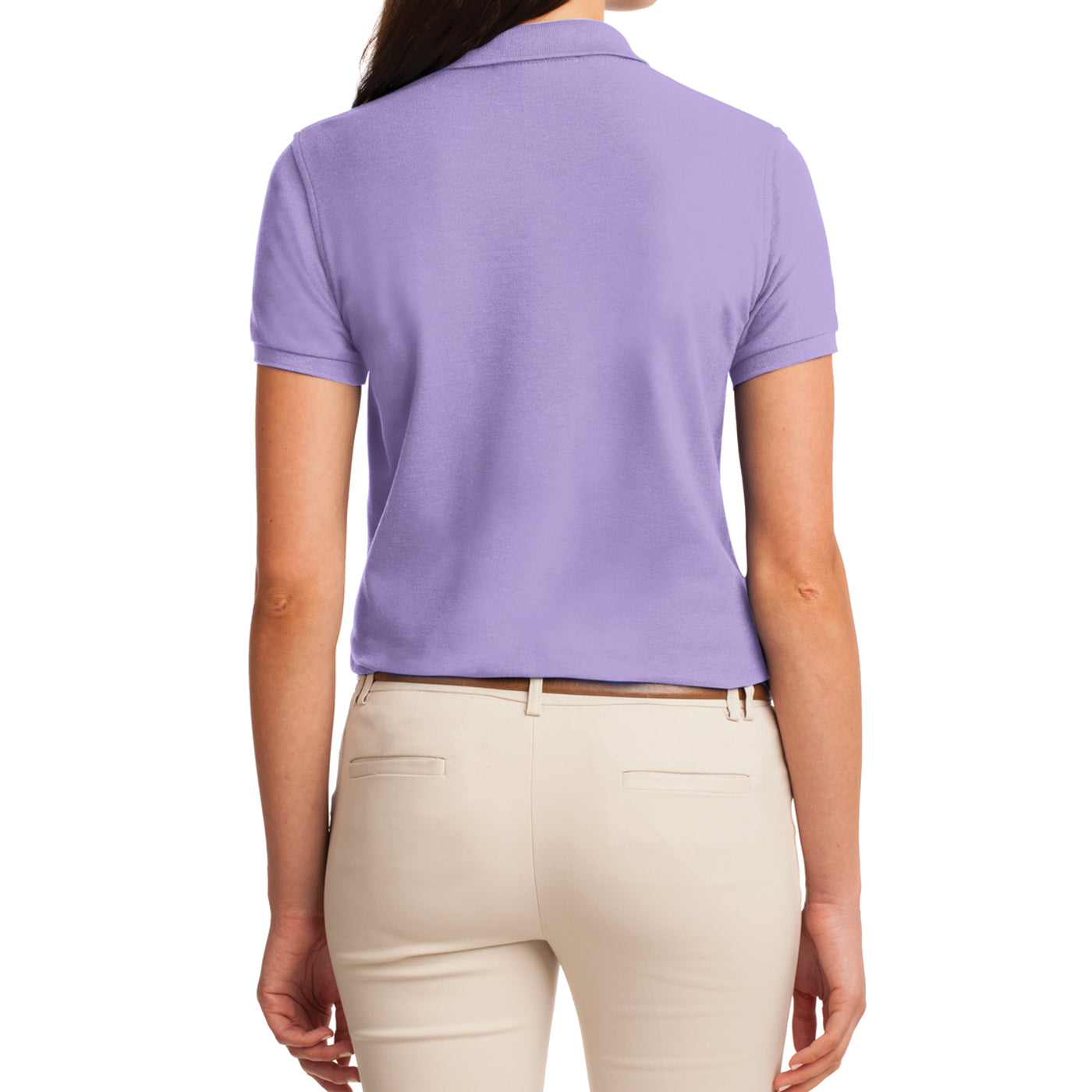Womens Silk Touch Classic Polo Shirt - Bright Lavender - Back