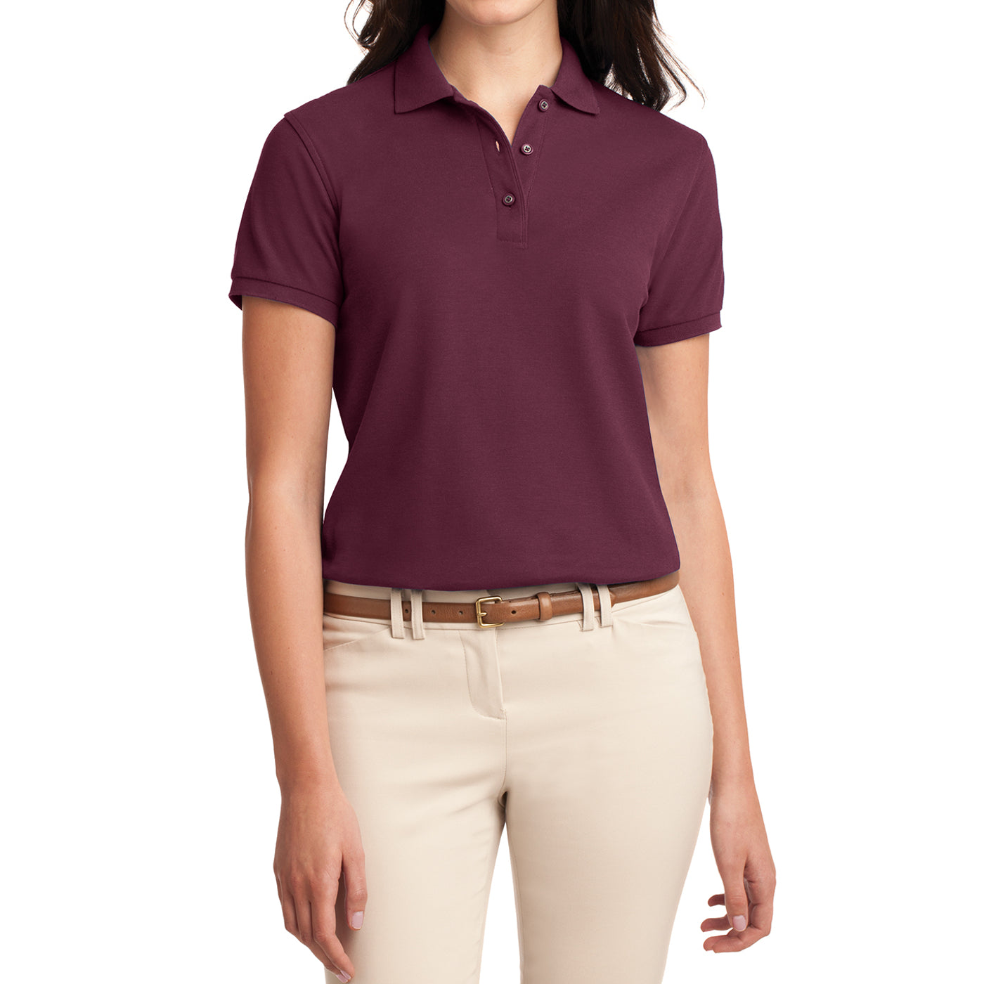 Womens Silk Touch Classic Polo Shirt - Burgundy - Front