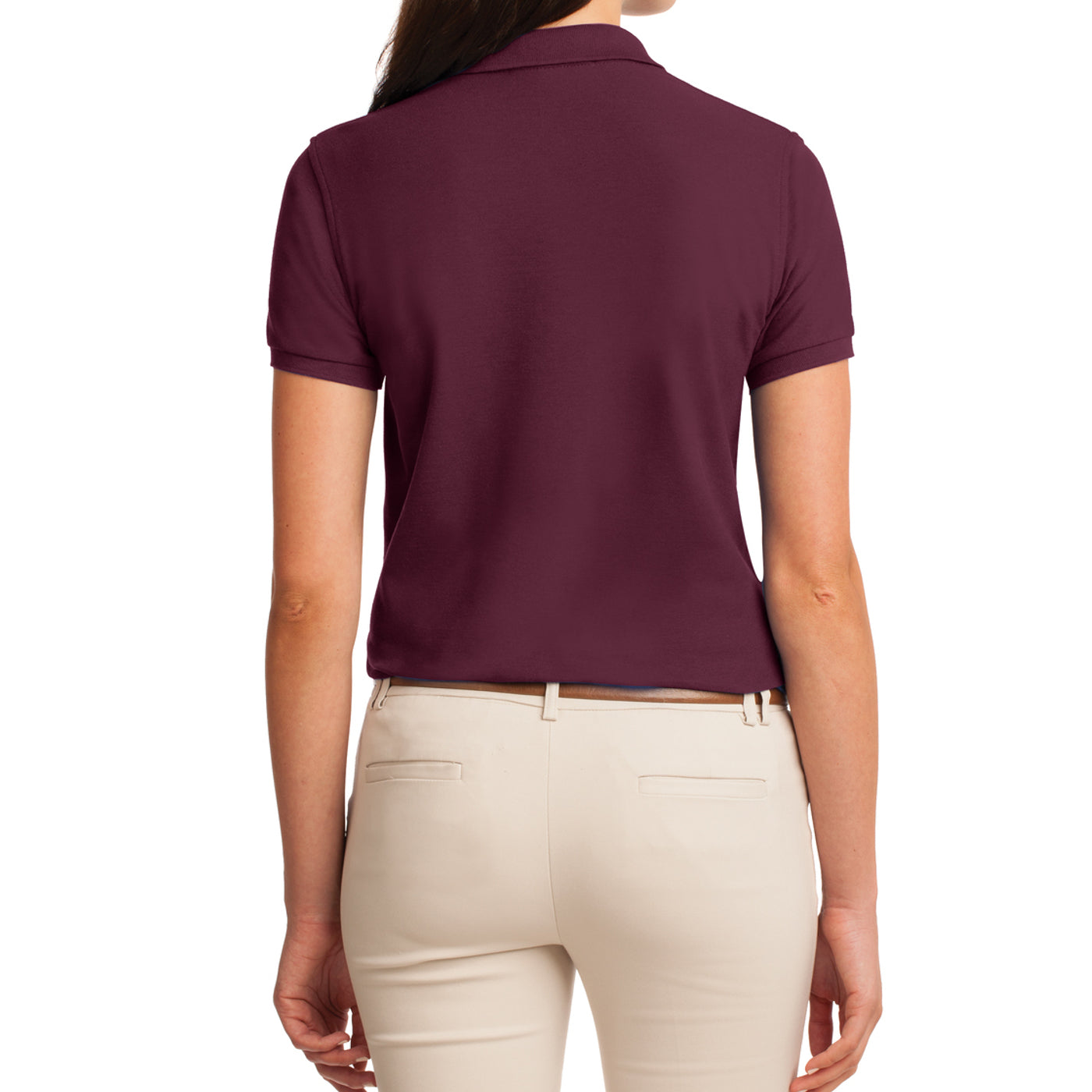 Womens Silk Touch Classic Polo Shirt - Burgundy - Back