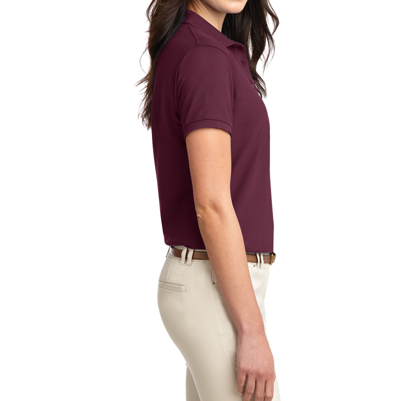Womens Silk Touch Classic Polo Shirt - Burgundy - Side