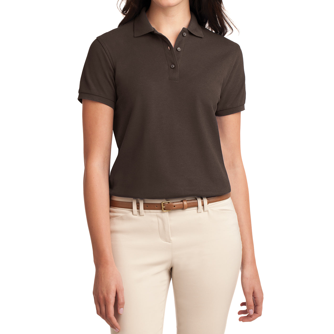 Womens Silk Touch Classic Polo Shirt - Coffee Bean - Front
