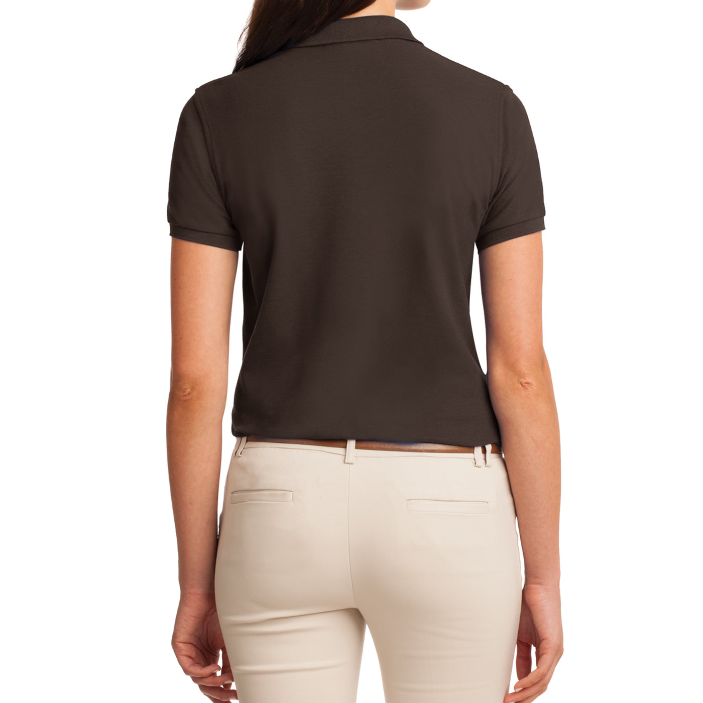Womens Silk Touch Classic Polo Shirt - Coffee Bean - Back