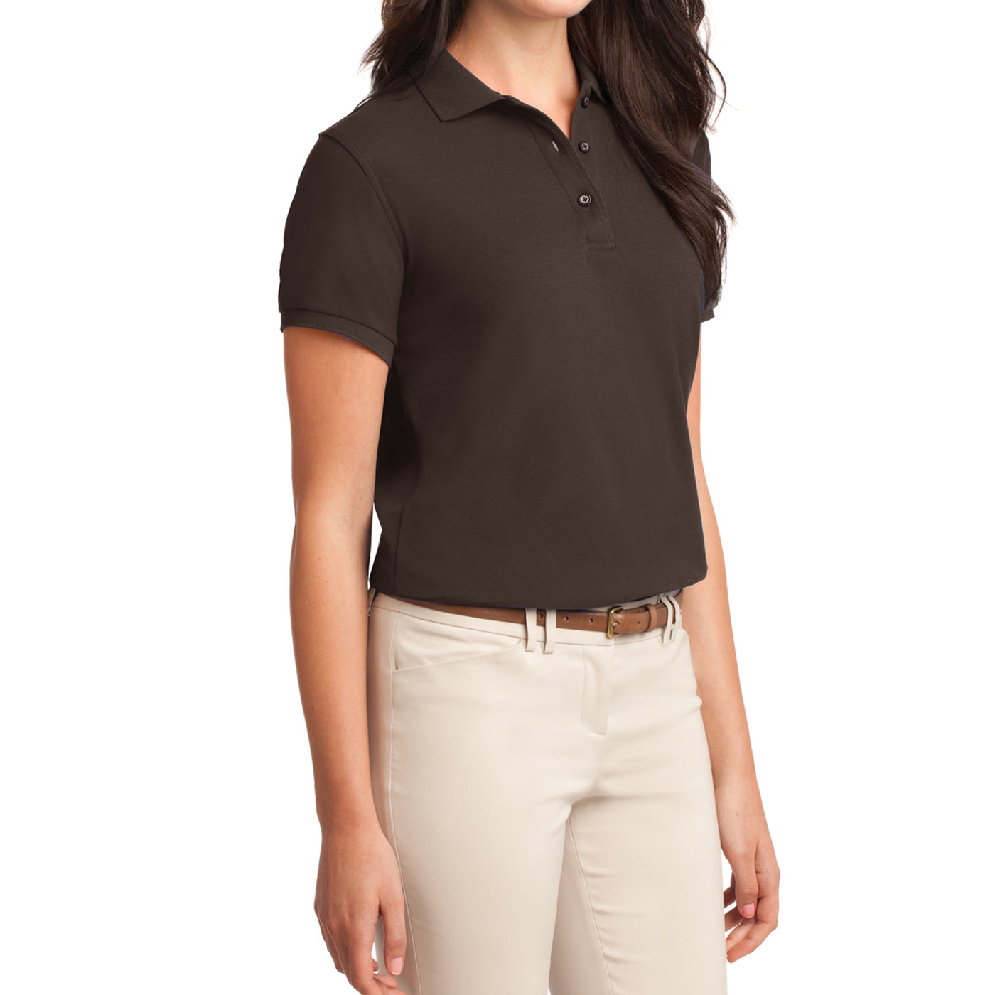 Womens Silk Touch Classic Polo Shirt - Coffee Bean - Side