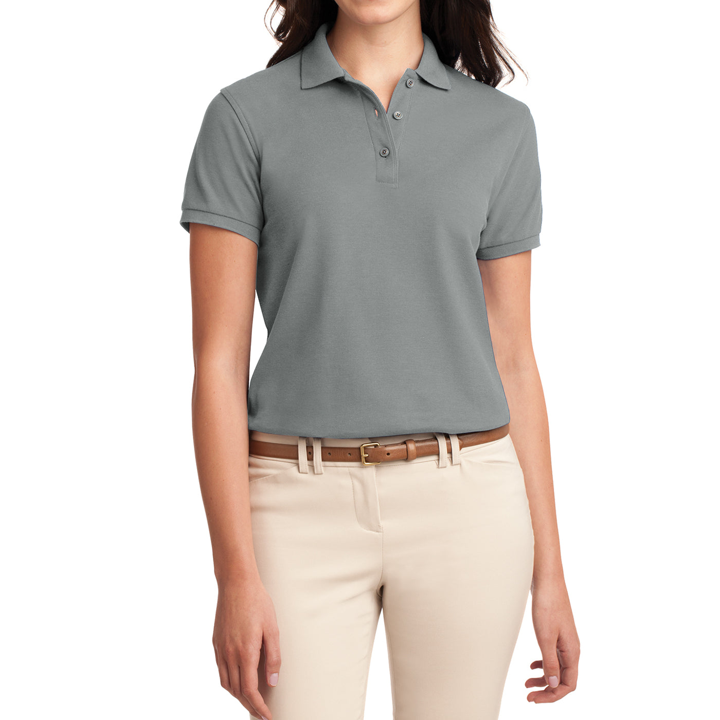 Womens Silk Touch Classic Polo Shirt - Cool Grey - Front