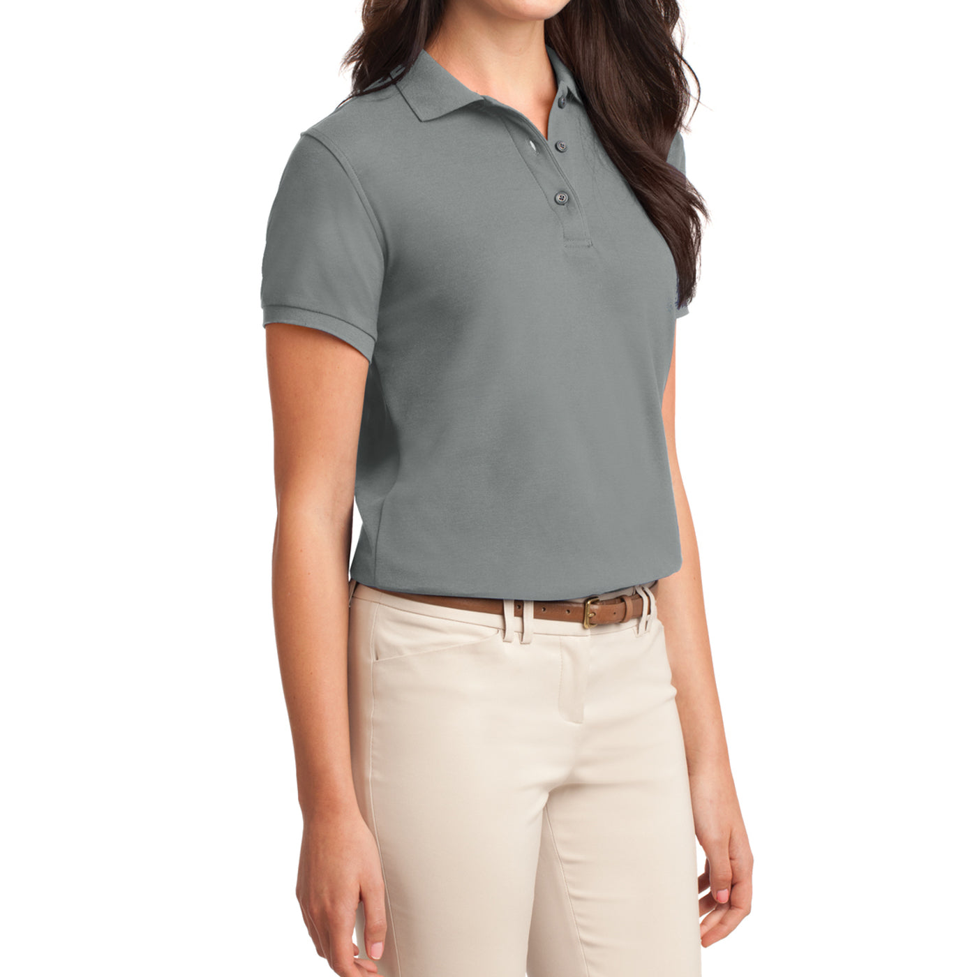 Womens Silk Touch Classic Polo Shirt - Cool Grey - Side