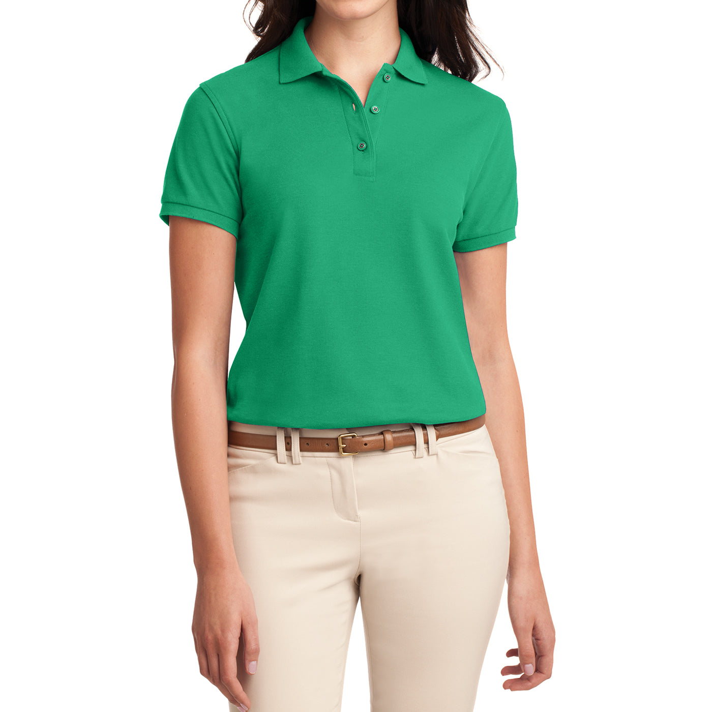 Womens Silk Touch Classic Polo Shirt - Court Green - Front