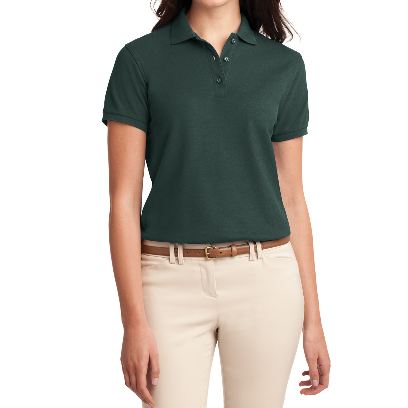Womens Silk Touch Classic Polo Shirt - Dark Green - Front