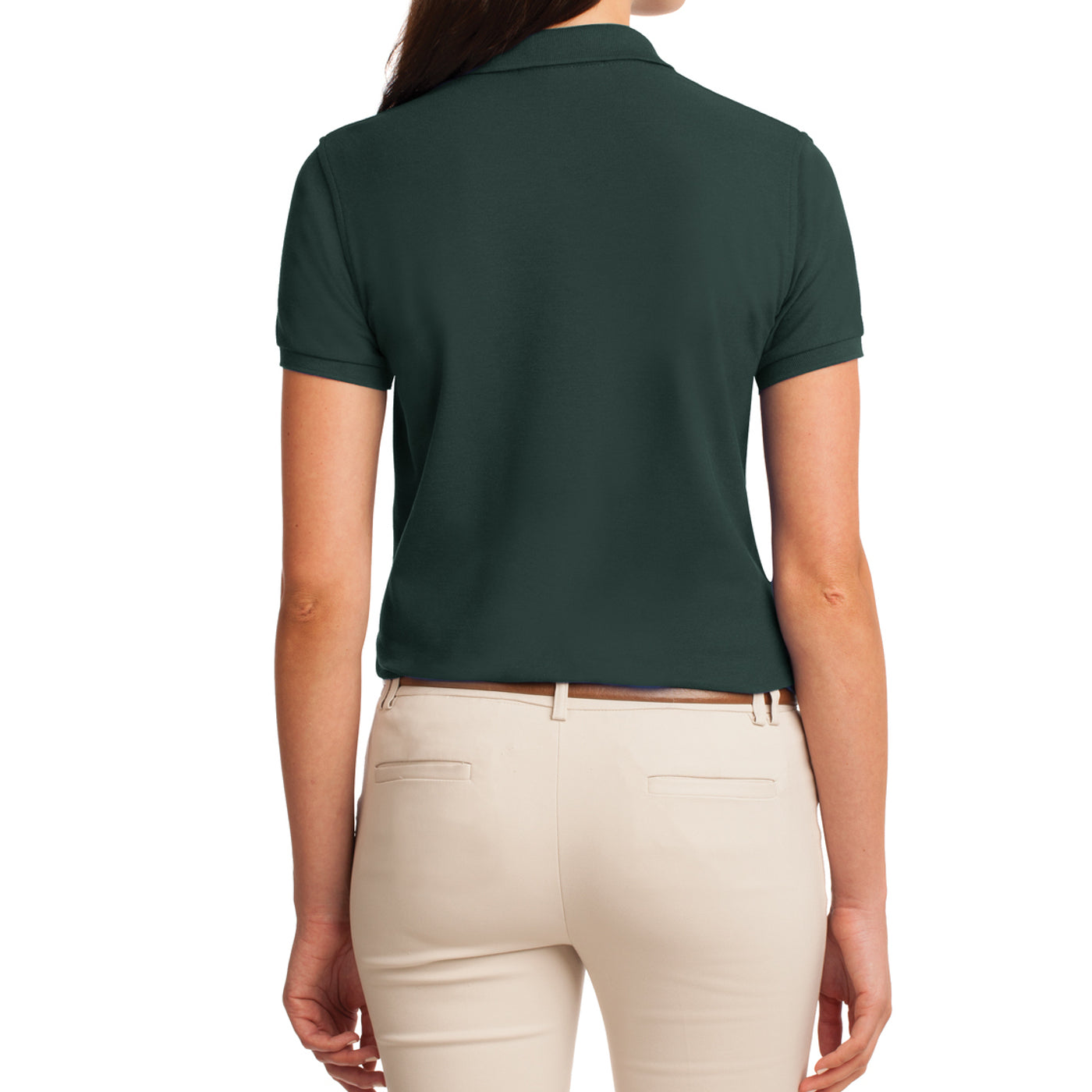 Womens Silk Touch Classic Polo Shirt - Dark Green - Back